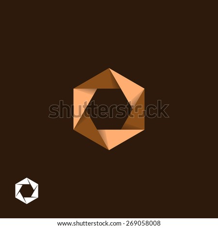Origami, hexagonal, aperture symbol - stock vector