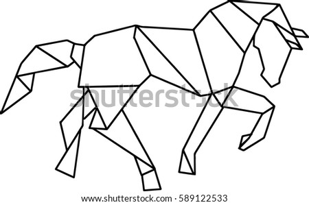Origami Horse Stock Vector 589122533