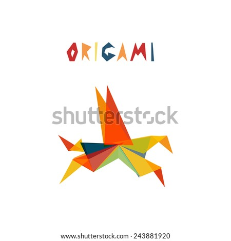 Origami horse. Triangle geometric shapes abstract animal pegas. - stock vector