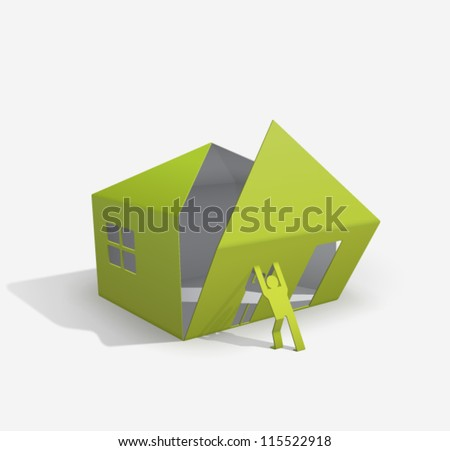 origami house builder (for your easy way to build or buy house...) - stock vector