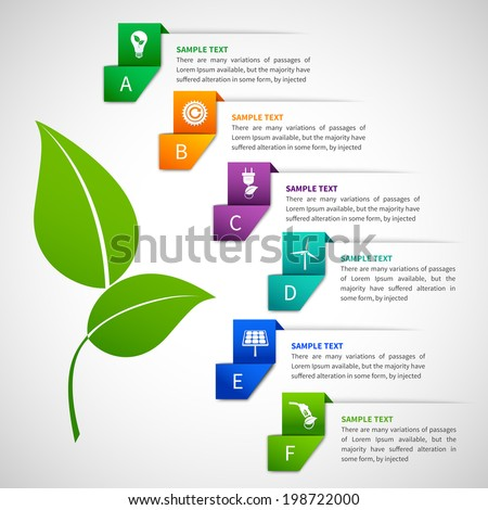 Origami infographics energy elements template with ribbon options and green leaf vector illustration - stock vector
