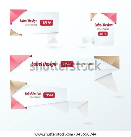 Origami label design, love style - stock vector