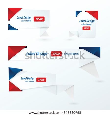 Origami label design, red, blue color - stock vector