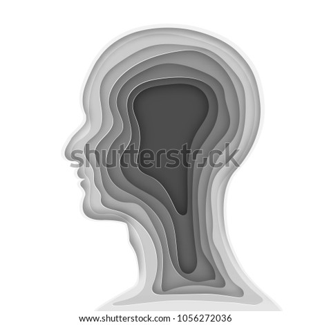 Origami Layer Of Gray Human Head As Business Health Medical Paper Carve Art