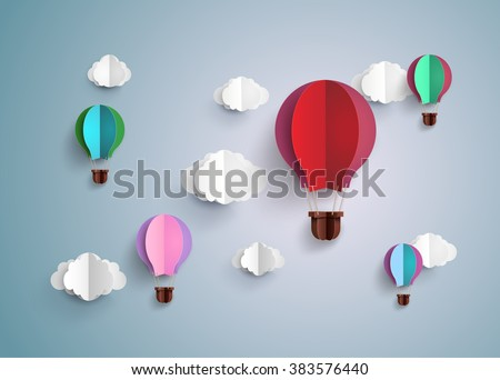Origami made hot air balloon and cloud.paper art style. - stock vector