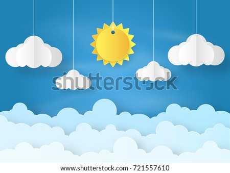 Origami Made Mobile Paper Sun And Cloud On Blue Sky Background Art Design