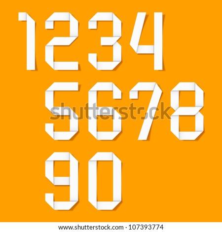 Origami numbers set. Vector. - stock vector