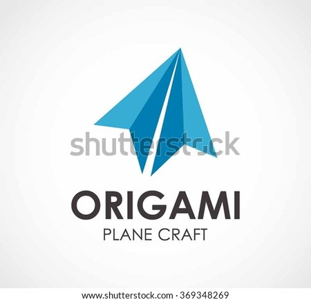 Origami Of Paper Plane Craft Abstract Vector And Logo Design Or Template Flying Flat Business Icon