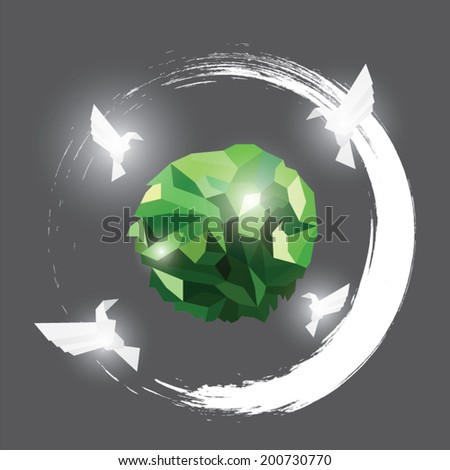 Origami paper bird on abstract background. geometric - stock vector