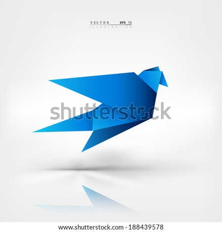 Origami paper bird.Vector illustration.Polygonal shape.Art of paper folding.Japan origami crane,pigeon. Flying bird on abstract background.History of origami.Paper figures in flight.