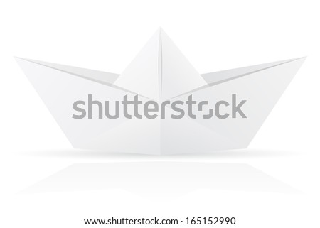origami paper boat vector illustration isolated on white background