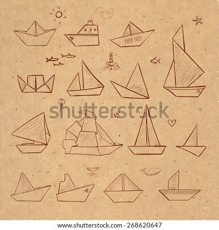 Origami paper boats sketches on brown paper. Paper sailing ships, steamboats, yachts, boats.