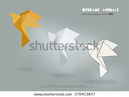 Origami Paper Collection, vector illustration.