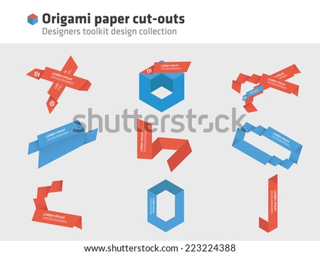 Origami - paper cut-outs - stock vector