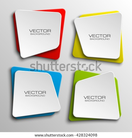 Origami paper infographic colorful banners set. Annotation ribbon. Advertising Design shape. Speech talking cloud. Vector label tag.  - stock vector