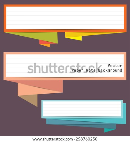 Origami Paper note banner for background in vector. - stock vector