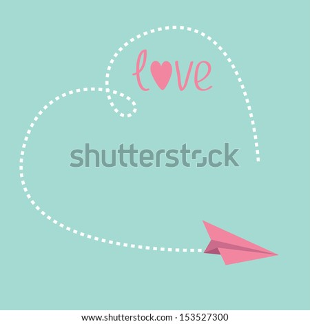 Origami paper plane. Big dash heart in the sky. Love card. Vector illustration. - stock vector