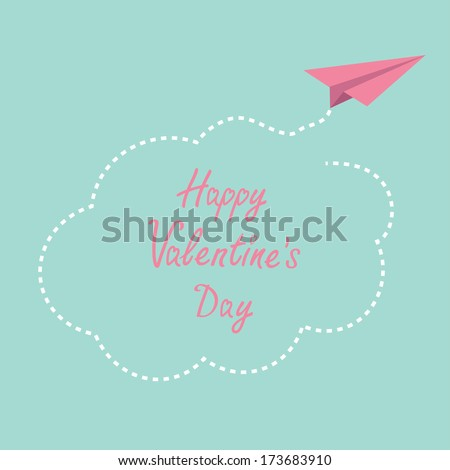 Origami paper plane. Dash cloud in the sky. Happy Valentines day card. Vector illustration. - stock vector