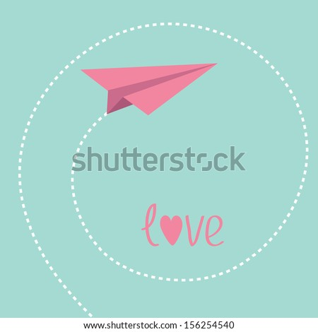 Origami paper plane. Dash spiral in the sky. Love card. Vector illustration. - stock vector