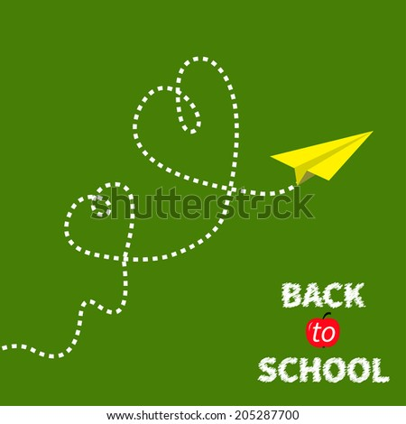 Origami paper plane on green. Two dash heart in the sky. Back to school. - stock vector