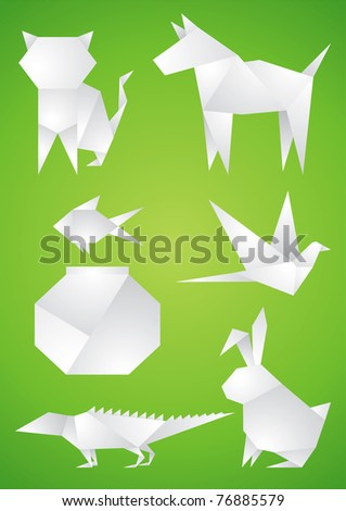 Origami Pets of the white paper on green background - stock vector