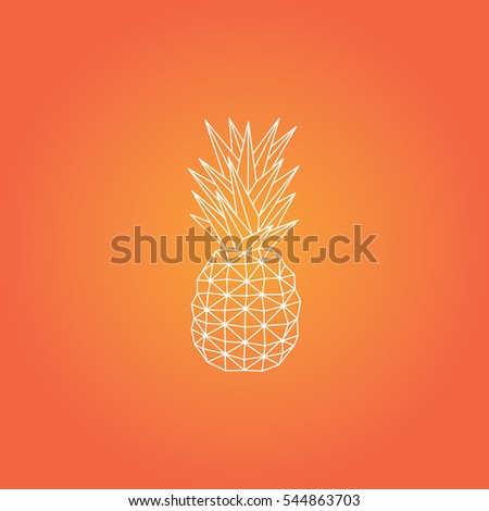 Origami Pineapple Vector Design Orange Background Stock Vector