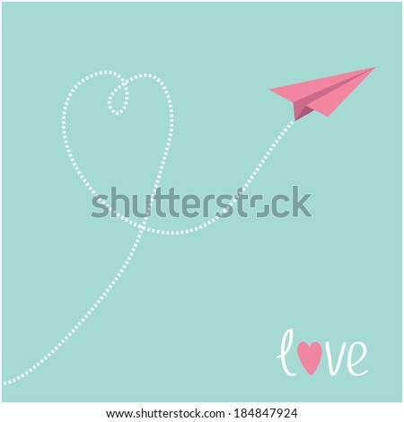 Origami pink paper plane. Dash heart in the blue  sky. Love card. Vector illustration. - stock vector