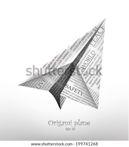 Origami plane made with newspaper - stock vector