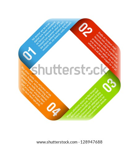 Origami process cycle design element. Vector. - stock vector