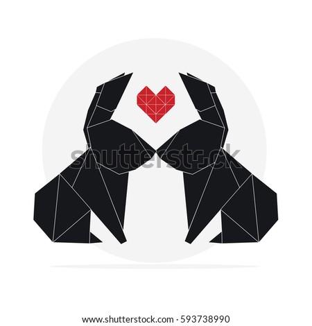 Origami Rabbit Vector Stock Vector 593738990