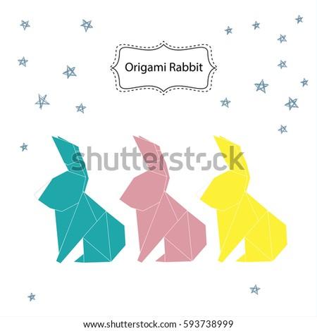 Origami Rabbit Vector Stock Vector 593738999