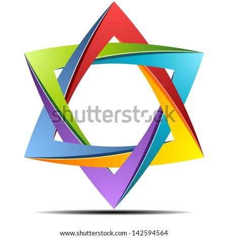 Origami rainbow star - stock vector