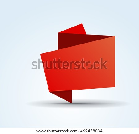 Origami red vector banner template for your design