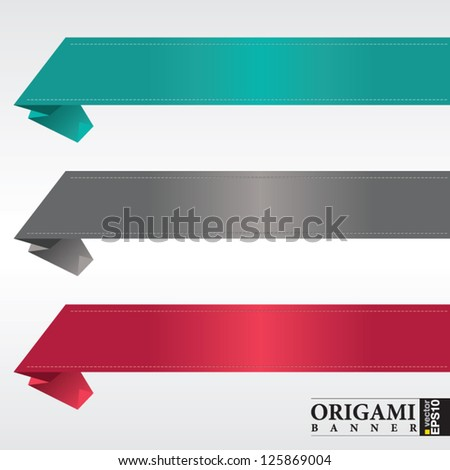 Origami ribbon banners vector.EPS 10 - stock vector