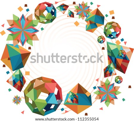 Origami shapes round frame. Paper shapes decorative frame. 3d shapes - pyramid, cube, ball and coloful snowflake. - stock vector