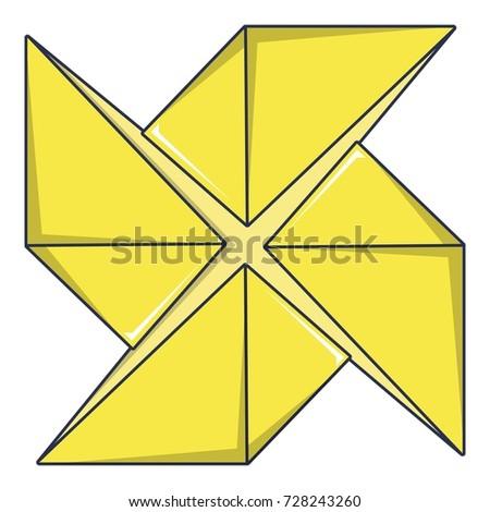 Origami Shuriken Icon Cartoon Illustration Origami Stock Vector
