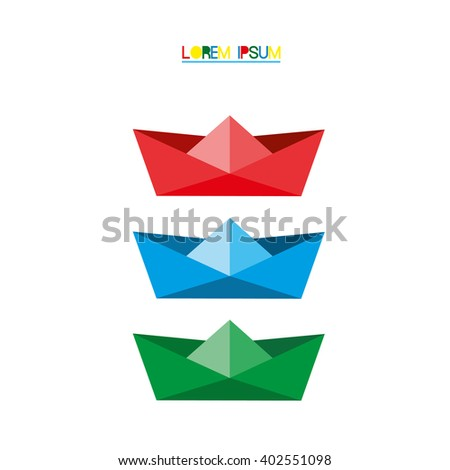 Origami silhouette of a paper boat. Vector Illustration