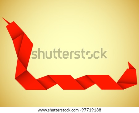 Origami Snake Background - stock vector