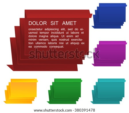Origami speech bubble set. Vector speech bubble. Origami vector paper. Folded paper bubble set. - stock vector