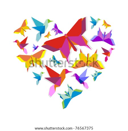 Origami spring butterfly and bird group in vivid color palette in heart shape. - stock vector