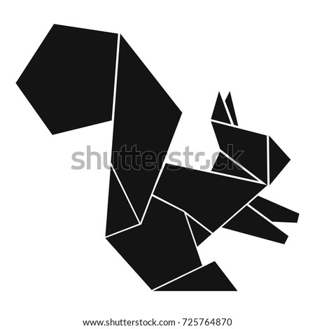 Origami Squirrel Icon Simple Illustration Origami Stock Vector