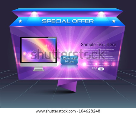 Origami Style Banner Template Vector Design - stock vector