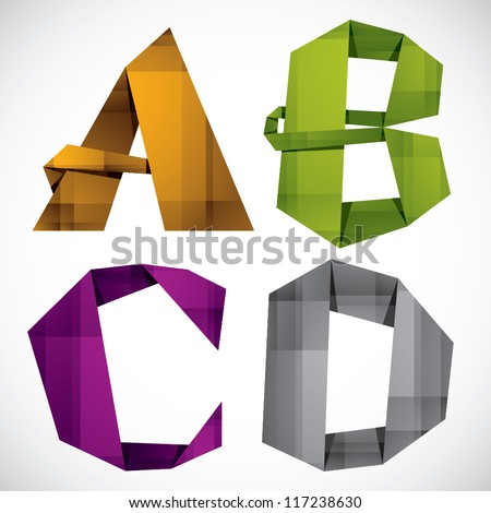 Origami style font, colorful vector letters A B C D. - stock vector