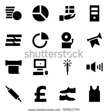 Origami style icon set - coins vector, diagram, gift, server, paper tray, bell, horn, scroll, pc, bengals, sound, rolling pin, pound, shoes, shirt