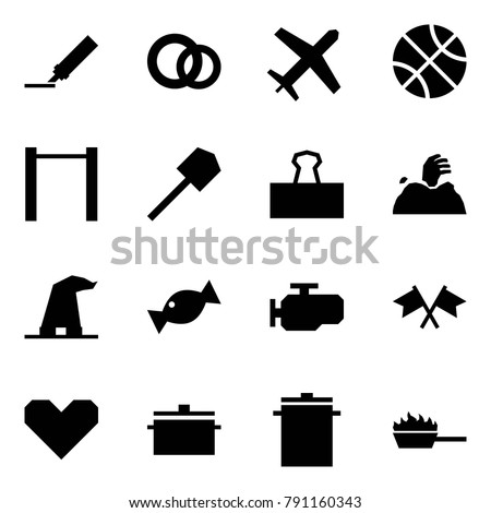 Stock Vector Origami Style Icon Set Marker Vector Rings Holiday Basketball Horizontal Bar Shovel Binder