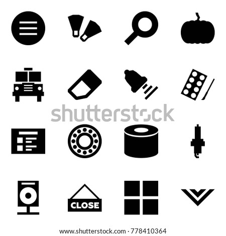 Origami style icon set - volleyball vector, flippers, magnifier, pumpkin, school bus, eraser, bell, paints, schedule, bearing, silent block, spark plug, concert speaker, close, group purchase, shawl