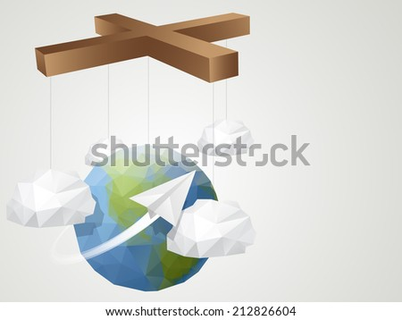Origami Style Marionette World background - stock vector