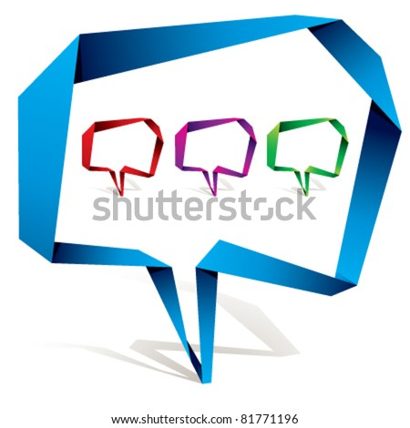 Origami style speech bubble with transparent shadow ready to put over any background. - stock vector