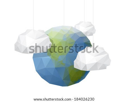 Origami Style World background - stock vector