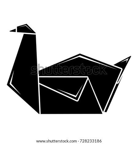 Origami Swan Icon Simple Illustration Of Vector For Web